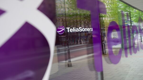 Логотип шведской компании TeliaSonera - Sputnik Ўзбекистон