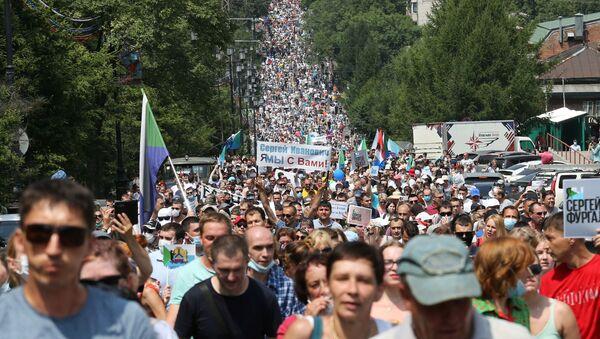 Митинг в Хабаровске в поддержку Сергея Фургала - Sputnik Узбекистан