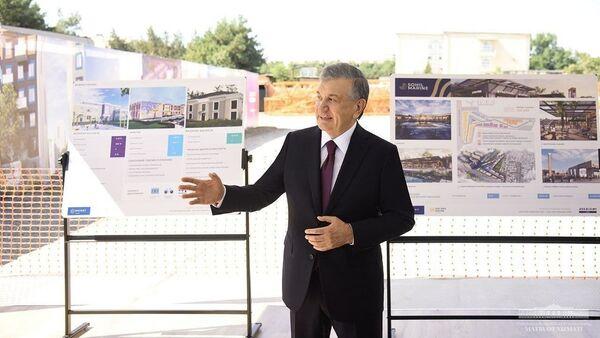 Шавкат Мирзиёев на строительном объекте в Яшнабадском районе - Sputnik Узбекистан