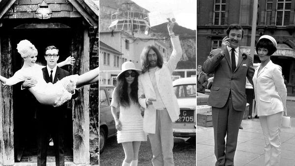 На фото: (слева) Шведская актриса Бритт Экланд с мужем британским актером Питером Селлерсом, 19 февраля 1964 года; (в центре) японская художница Йоко Оно после свадьбы с британским рок-музыкантом и участником группы The Beatles Джоном Ленноном, 20 марта 1969 года; (справа) английская актриса Аманда Барри с мужем актером Робином Хантером, 19 июня 1967 года - Sputnik Узбекистан