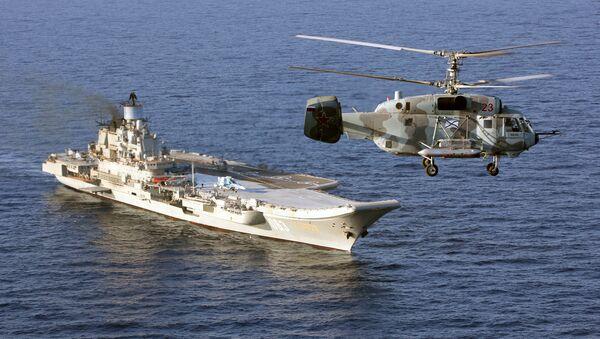Tyajelыy avianesuщiy kreyser Admiral Kuznetsov i vertolet Ka-29 Voorujennыx sil RF v Sredizemnom more - Sputnik Oʻzbekiston