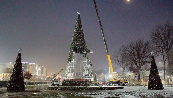 Празднику быть: в Ташкенте собирают главную новогоднюю елку - Sputnik Ўзбекистон