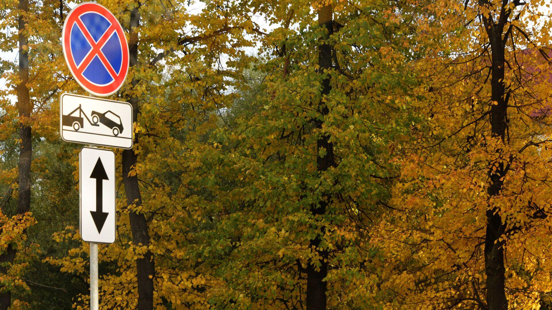 Дорожный знак Остановка запрещена - Sputnik Ўзбекистон, 1920, 06.09.2021