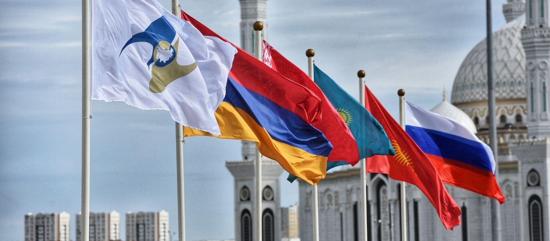 Флаги государств-членов Евразийского экономического союза - Sputnik Узбекистан, 1920, 14.01.2021