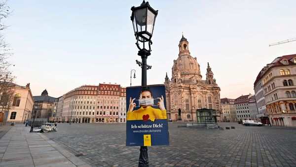Безлюдная площадь в Дрездене, Германия - Sputnik Ўзбекистон