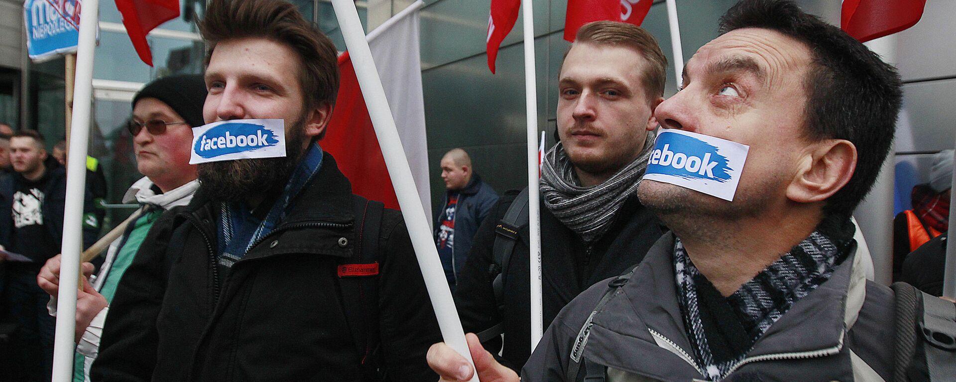 Протесты против блокировки аккаунтов в сети Facebook в Варшаве  - Sputnik Узбекистан, 1920, 15.01.2021