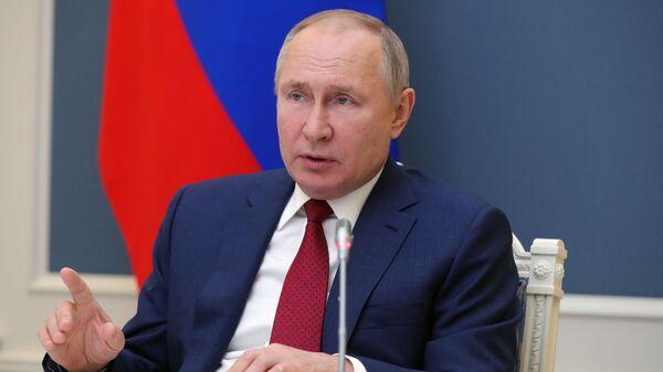 Prezident RF V. Putin vыstupil na sessii onlayn-foruma Davosskaya povestka dnya 2021 - Sputnik Oʻzbekiston