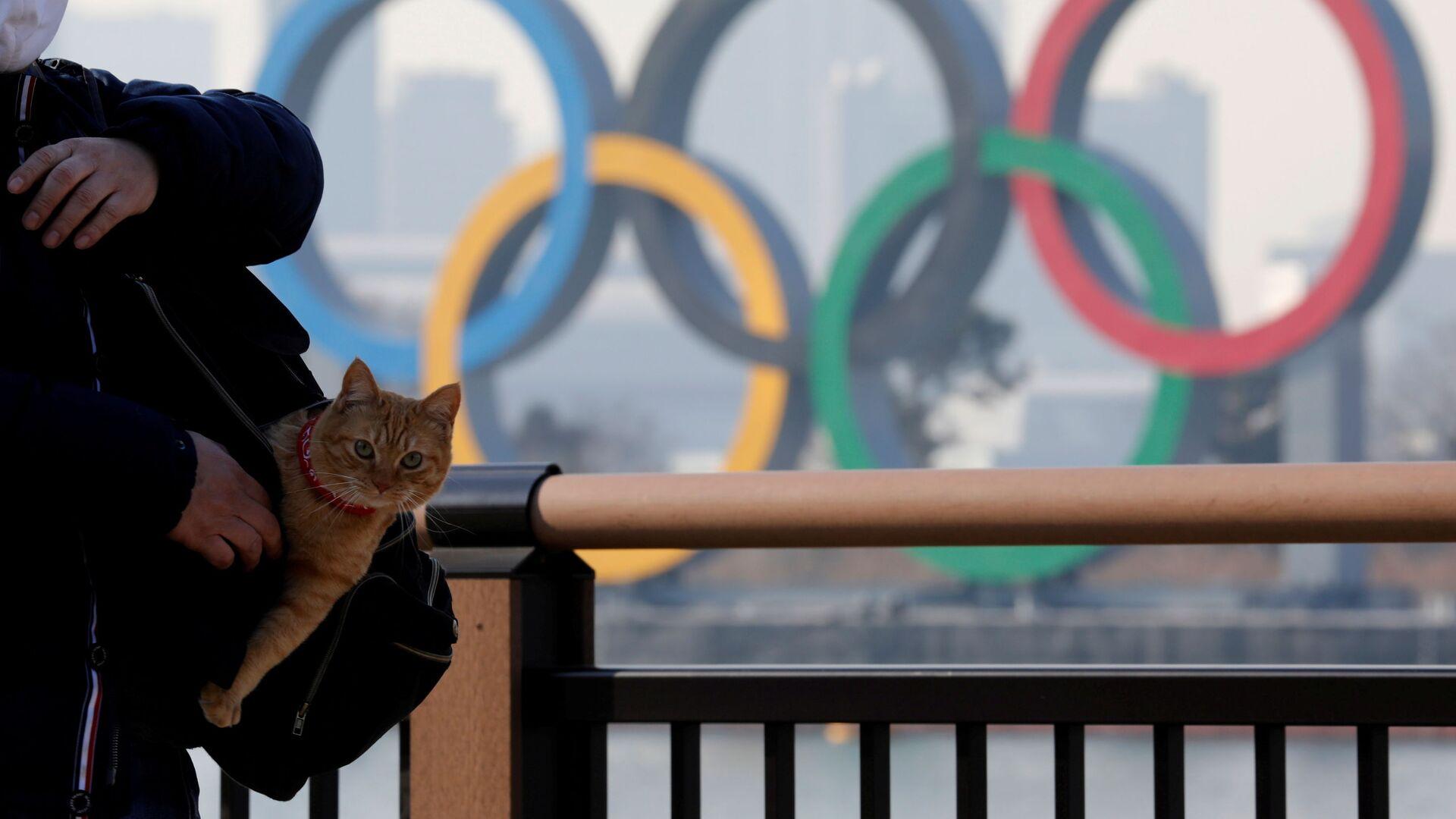 Мужчина с котом в сумке на фоне олимпийских колец в Токио - Sputnik Узбекистан, 1920, 16.02.2021