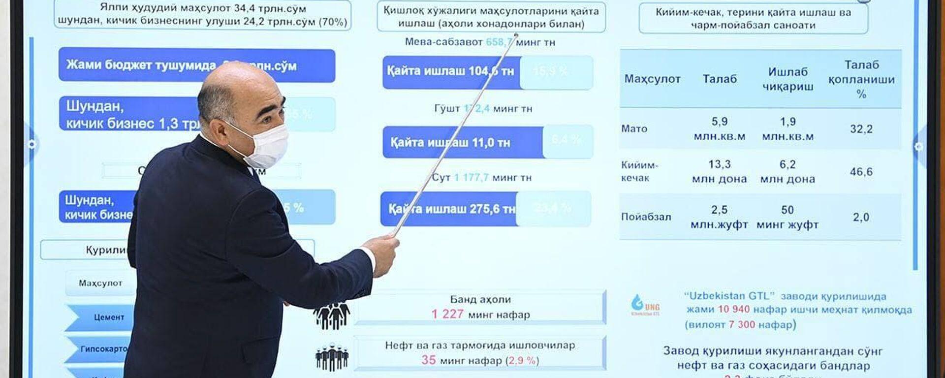 Шавкат Мирзиёев ознакомился с презентацией инвестиционных проектов, которые планируется реализовать в Кашкадарьинской области и электроэнергетической отрасли.   - Sputnik Узбекистан, 1920, 16.03.2021