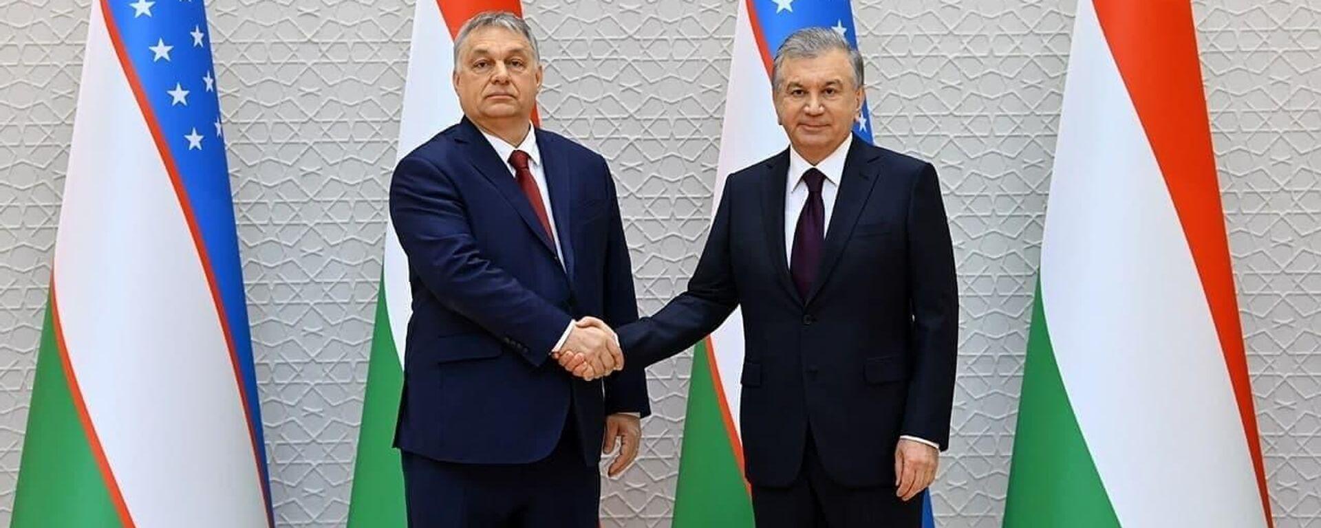 Президент Узбекистана Шавкат Мирзиёев (справа) и премьер-министр Венгрии Виктор Орбан - Sputnik Узбекистан, 1920, 30.03.2021