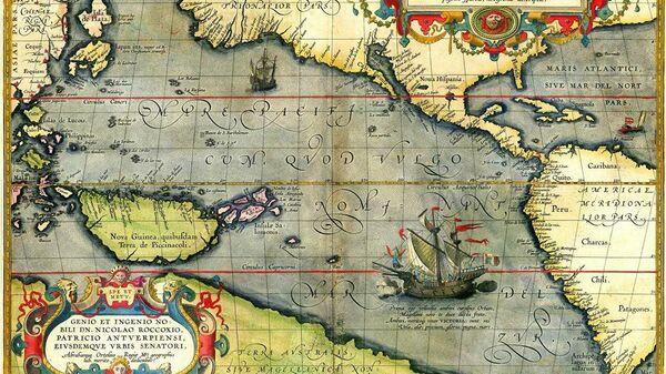 Корабль Ферндинанда Магеллана Виктория на карте Абрахама Ортелия - Sputnik Узбекистан