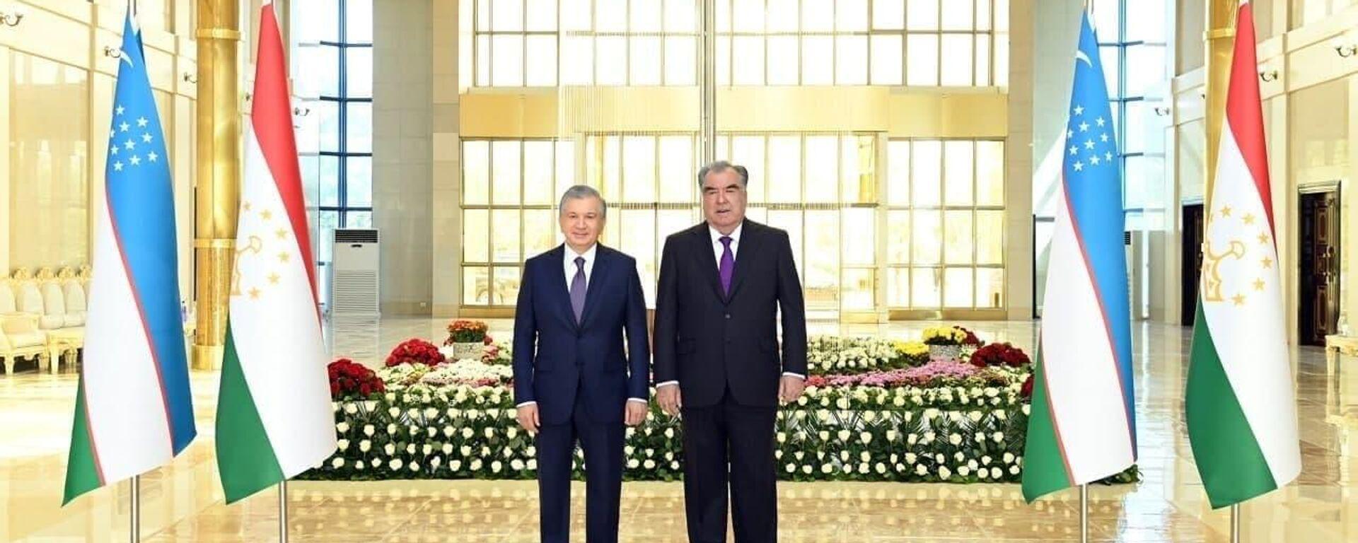 Tseremoniya vstrechi prezidenta Uzbekistana Shavkata Mirziyoyeva v aeroportu Dushanbe - Sputnik Oʻzbekiston, 1920, 23.08.2021