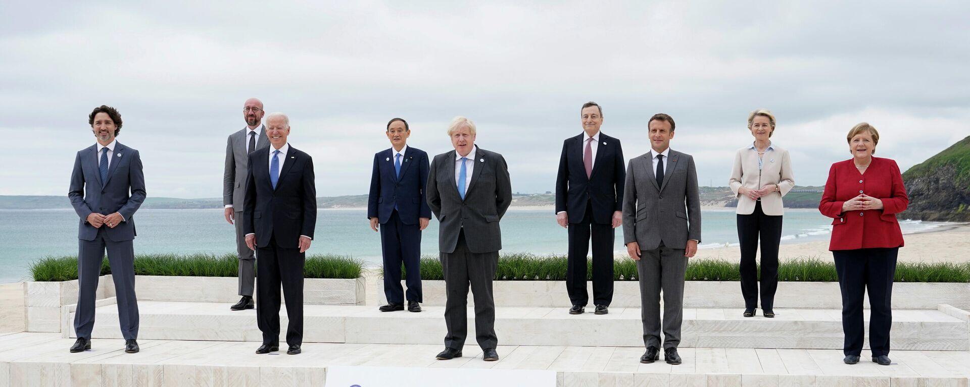 Участники саммита G7 в Великобритании - Sputnik Узбекистан, 1920, 15.06.2021