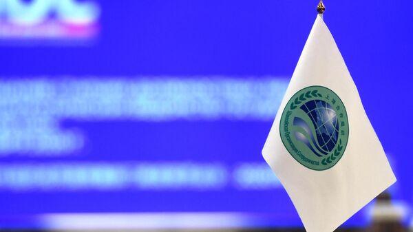 Флажок с логотипом Шанхайской организации сотрудничества (ШОС) - Sputnik Узбекистан