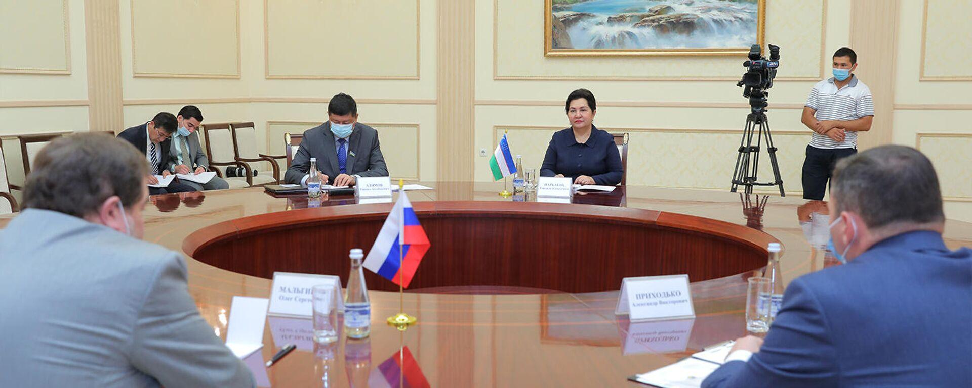 Глава Сената Узбекистана Танзила Нарбаева провела встречу с послом РФ в Узбекистане Олегом Мальгиновым - Sputnik Узбекистан, 1920, 10.07.2021