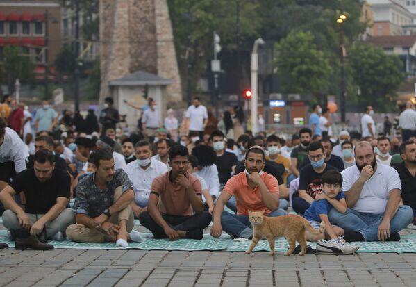 Мусульмане молятся в первый день праздника Курбан-хайит за пределами знаменитого собора Святой Софии в историческом районе Султан Ахмед в Стамбуле. - Sputnik Узбекистан