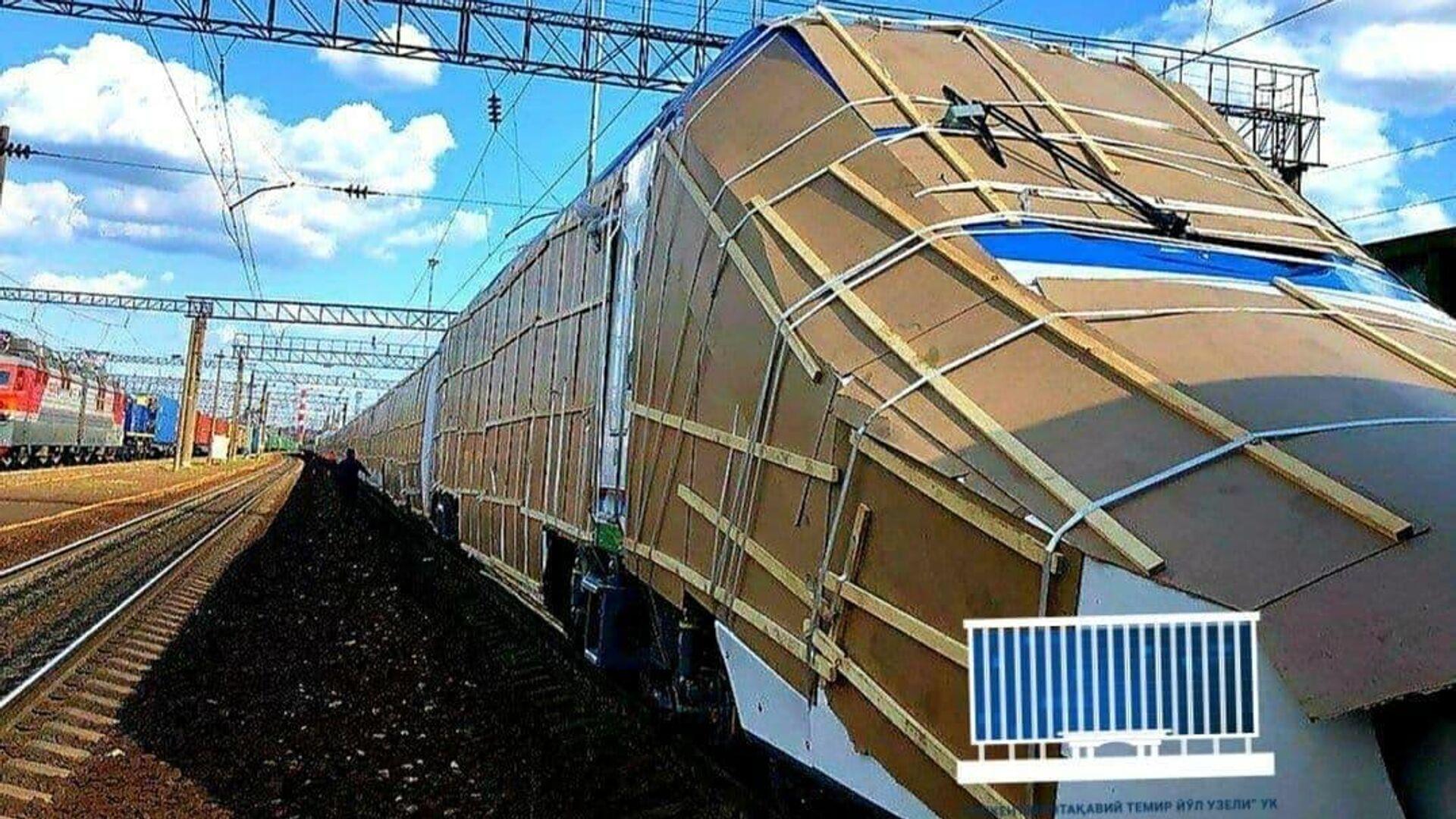 Транспортировка нового поезда Афрасиаб из России в Узбекистан - Sputnik Узбекистан, 1920, 21.07.2021