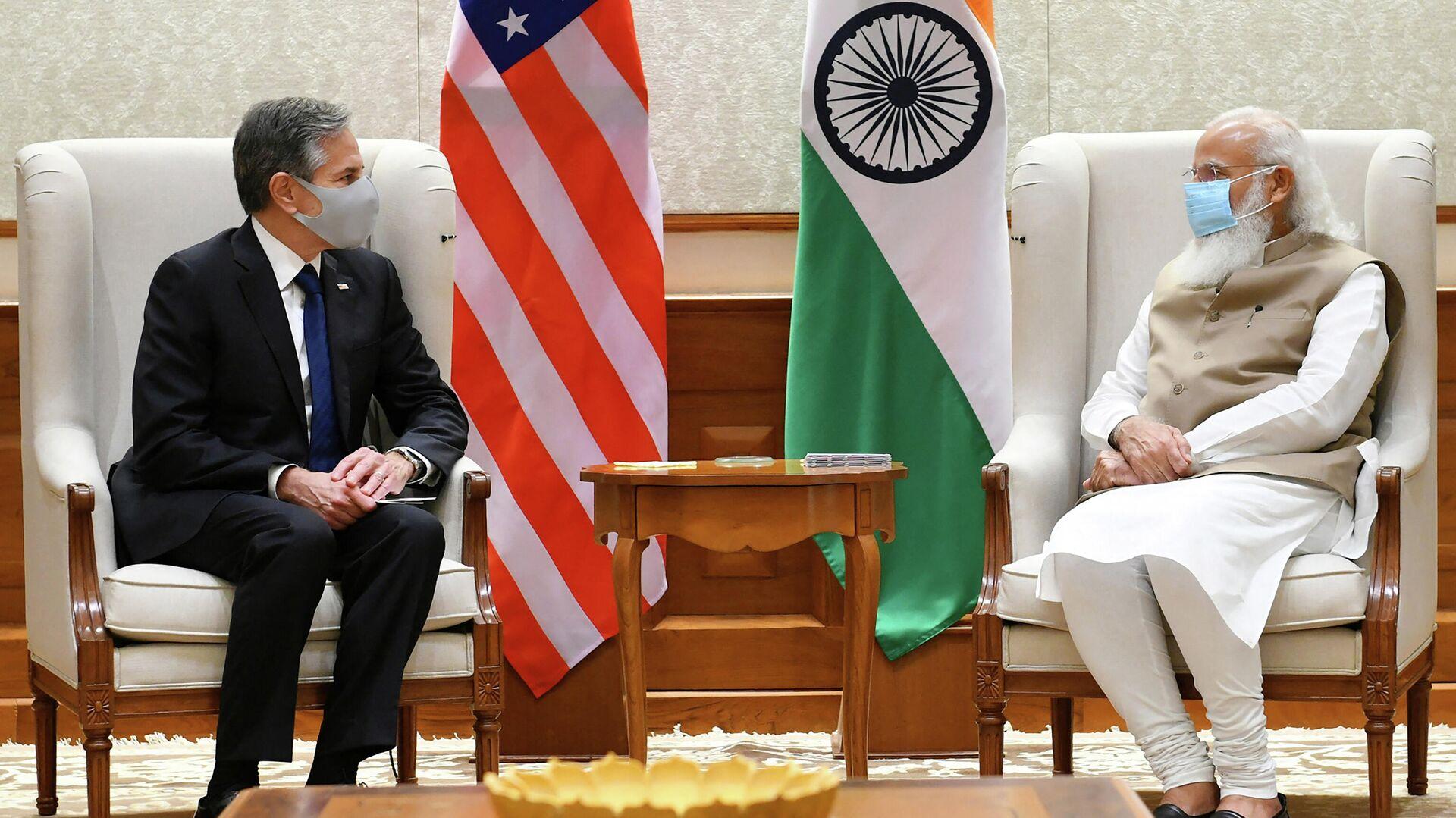 Госсекретарь США Энтони Блинкен и премьер-министр Индии Нарендра Моди - Sputnik Узбекистан, 1920, 25.09.2021