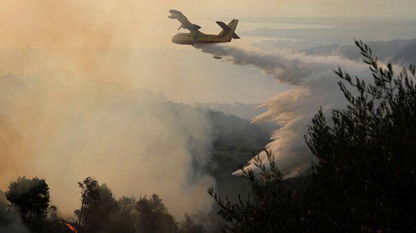 Самолет тушит природный пожар в северном пригороде Афин - Sputnik Ўзбекистон