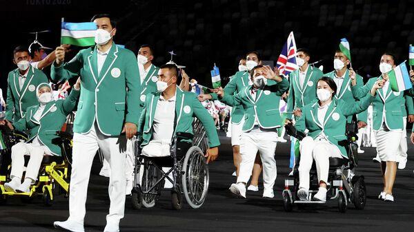 Паралимпийская сборная Узбекистана во время церемонии открытия паралимпийских игр в Токио - Sputnik Узбекистан