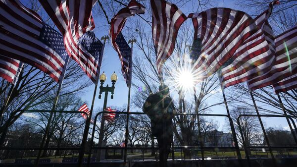 Рабочий устанавливает флаги США - Sputnik Узбекистан