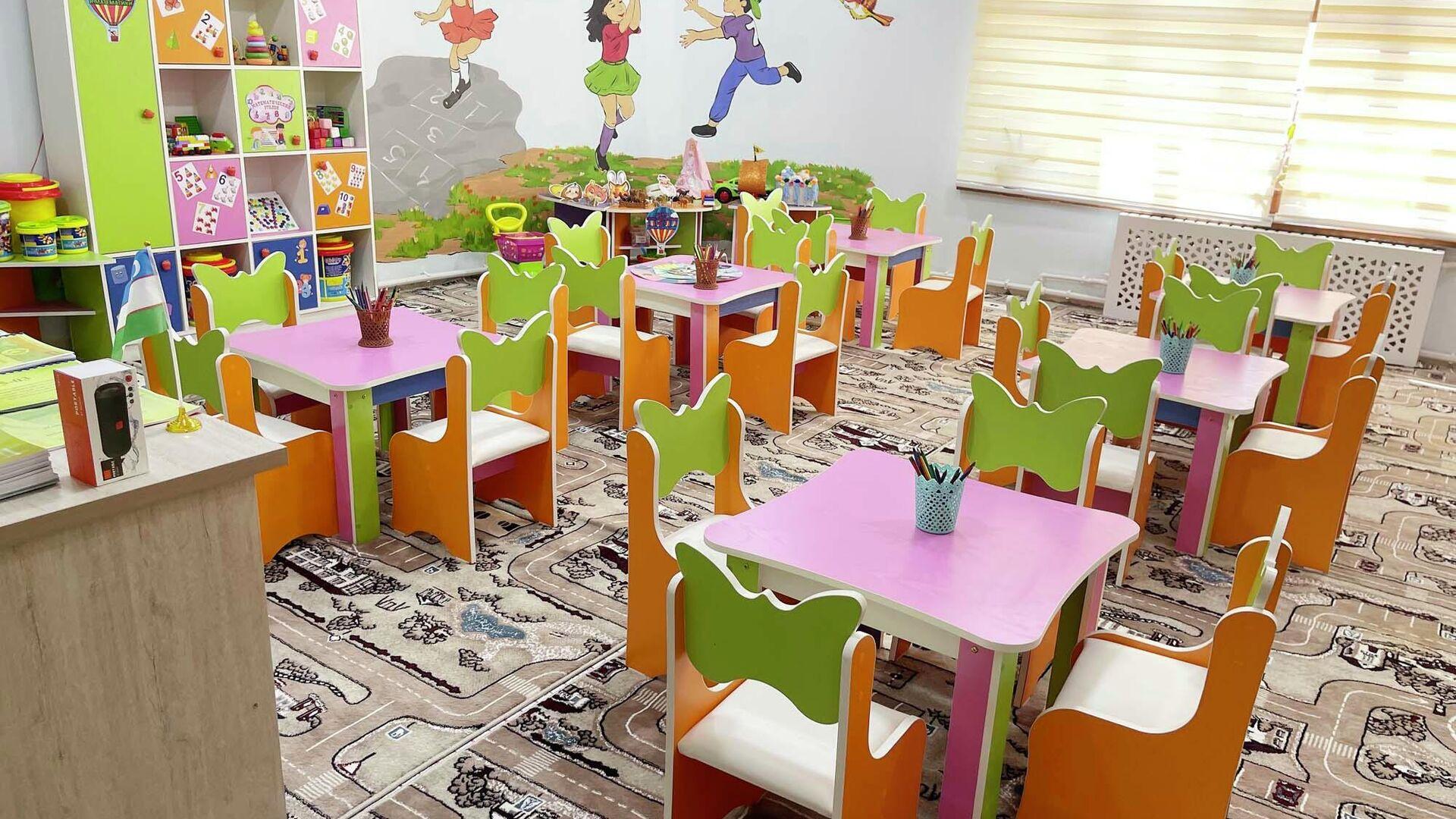 Церемония открытия детского сада в Риштанском районе Ферганской области - Sputnik Узбекистан, 1920, 24.09.2021