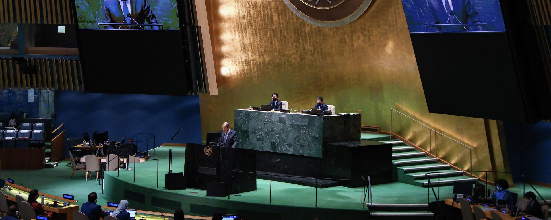 Выступление С. Лаврова на общеполитической дискуссии 76-й сессии ГА ООН - Sputnik Узбекистан, 1920, 26.09.2021