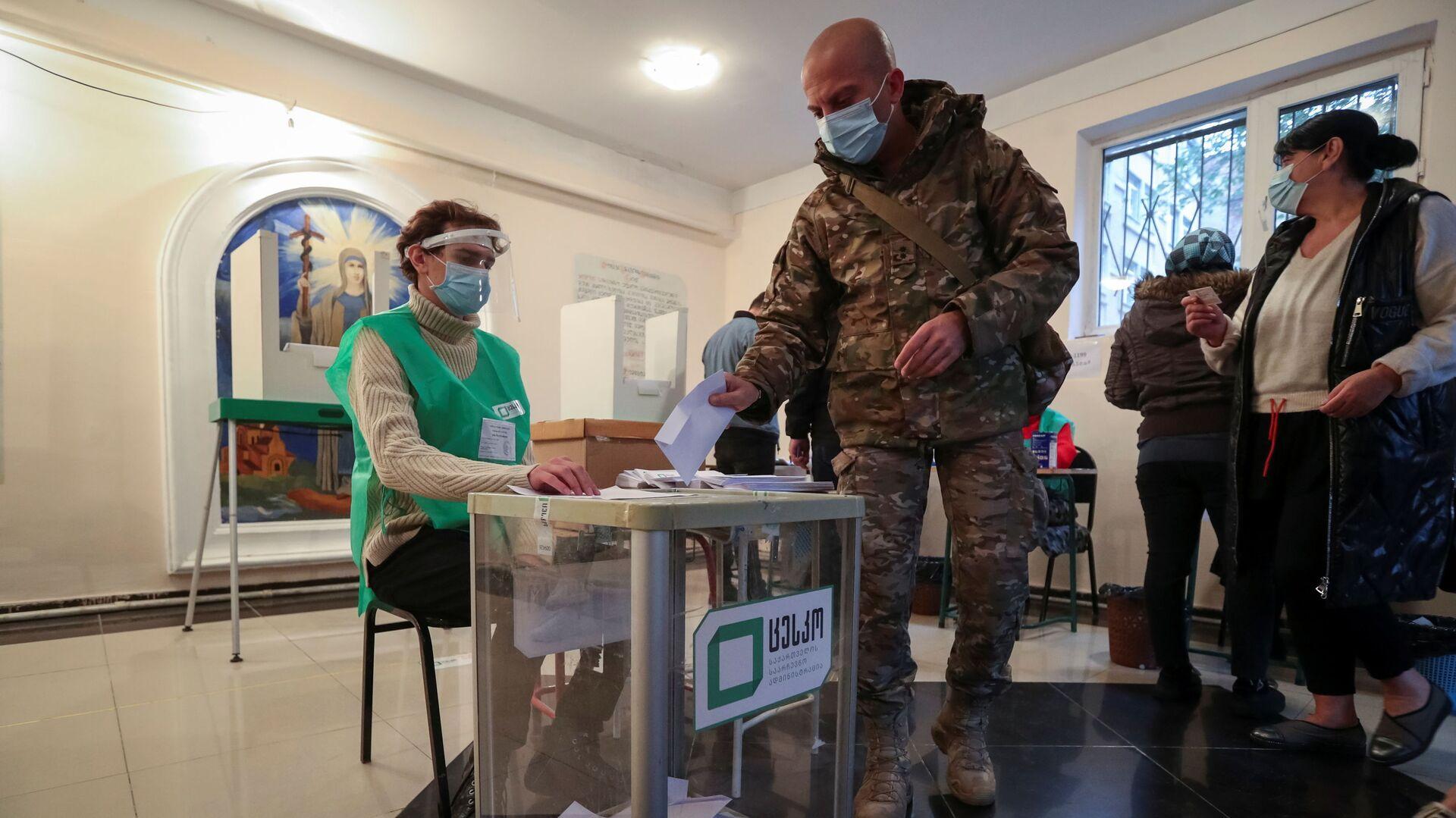 Голосование на выборах в органы местного самоуправления в Грузии  - Sputnik Узбекистан, 1920, 04.10.2021