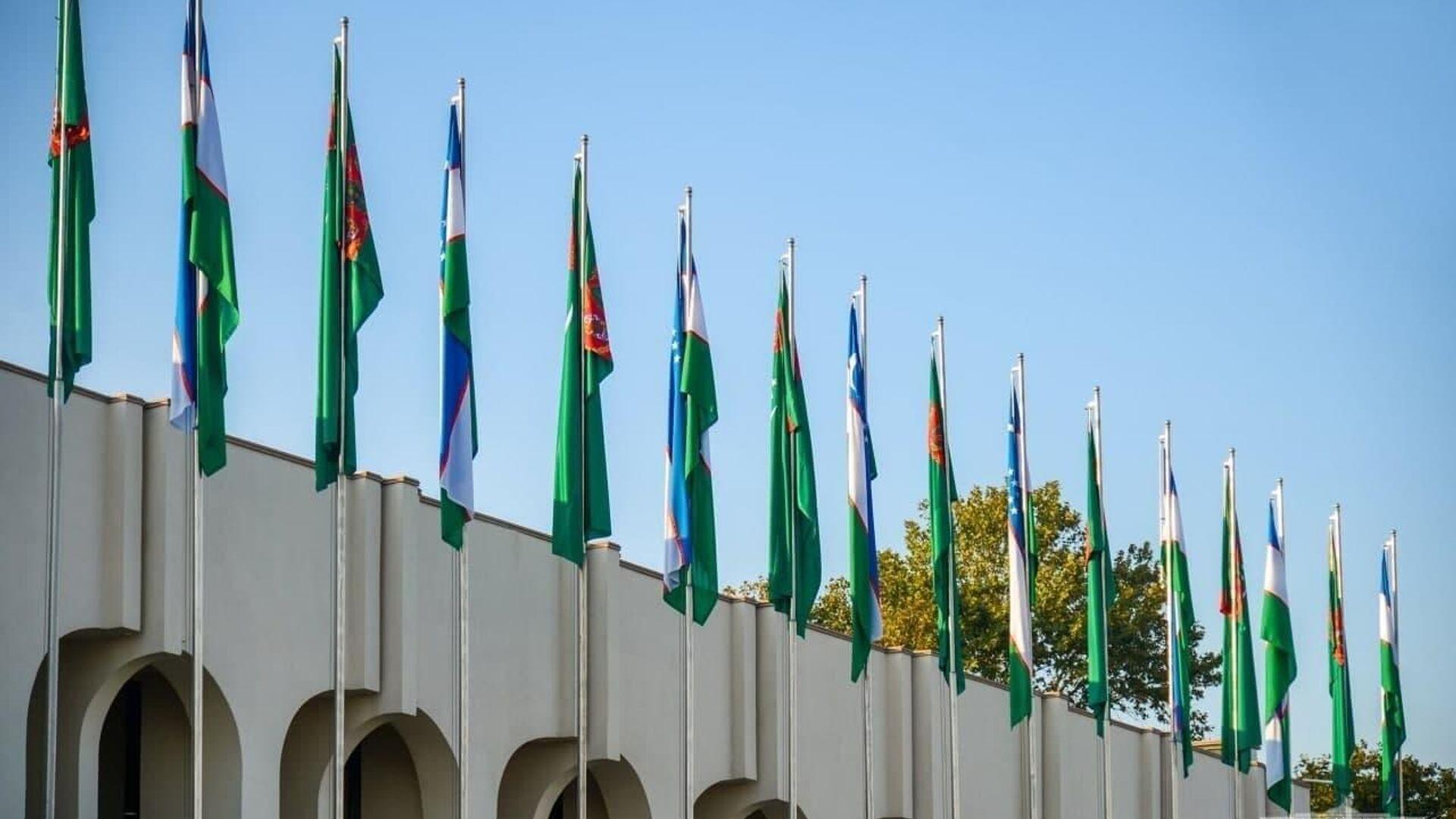 Флаги Узбекистана ва Туркменистана - Sputnik Ўзбекистон, 1920, 05.10.2021