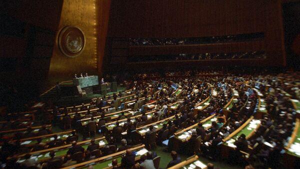 Зал заседаний. Сессия Генеральной Ассамблеи ООН. - Sputnik Узбекистан