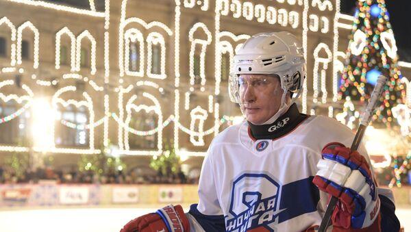 Президент РФ В. Путин принял участие в товарищеском матче Ночной хоккейной лиги - Sputnik Ўзбекистон