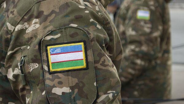 Флаг Узбекистана на форме военного в преддверии Дня защитника Родины - Sputnik Узбекистан