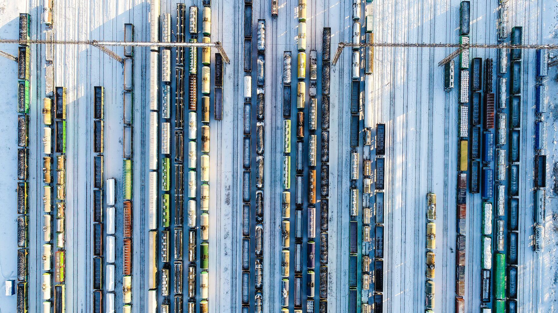 Товарные поезда стоят на станции Бекасово-Сортировочное - Sputnik Ўзбекистон, 1920, 06.10.2021