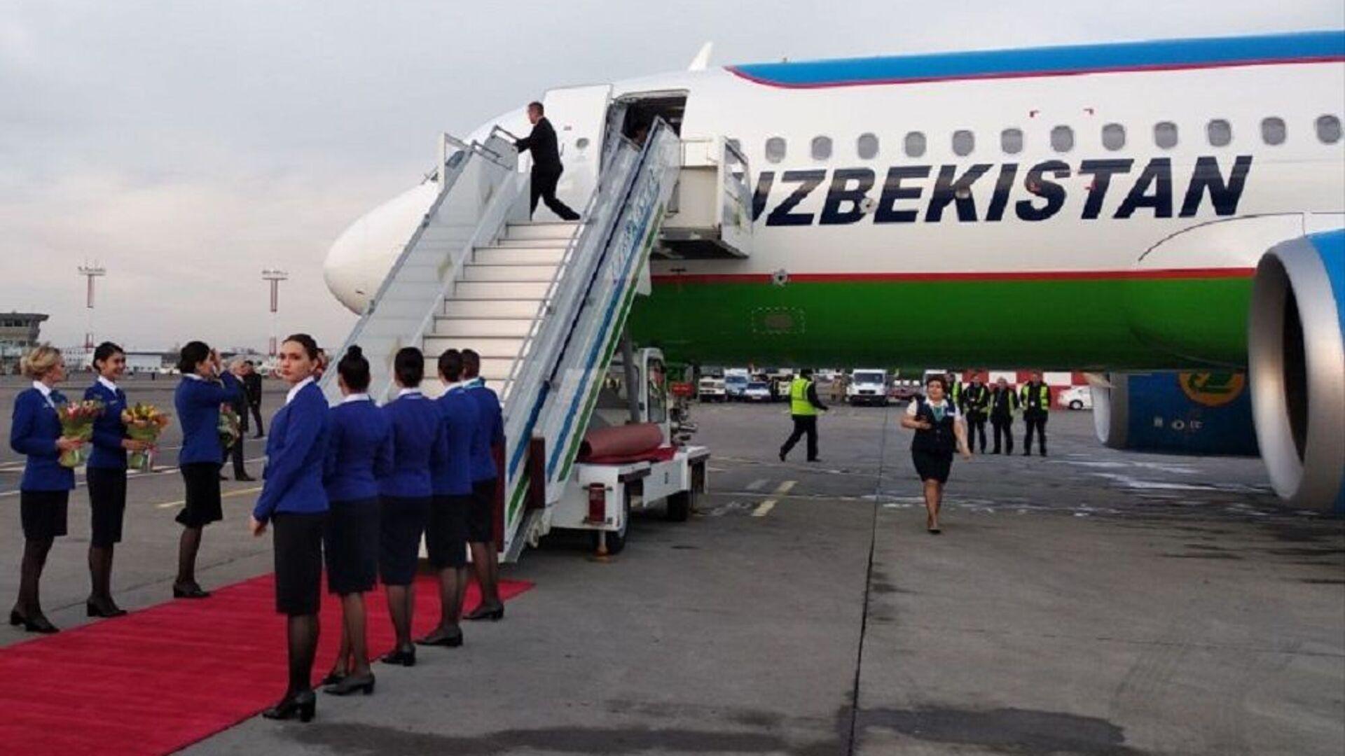 Встреча нового самолета Airbus-320neo в аэропорту Ташкента - Sputnik Узбекистан, 1920, 07.09.2021