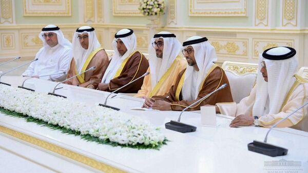 Делегация из ОАЭ во время переговоров с президентом Узбекистана Шавкатом Мирзиёевым - Sputnik Узбекистан