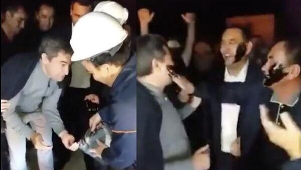 Министр Алишер Султанов необычно отпраздновал добычу нефти - видео - Sputnik Узбекистан