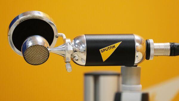 Микрофон в студии радио Sputnik - Sputnik Ўзбекистон