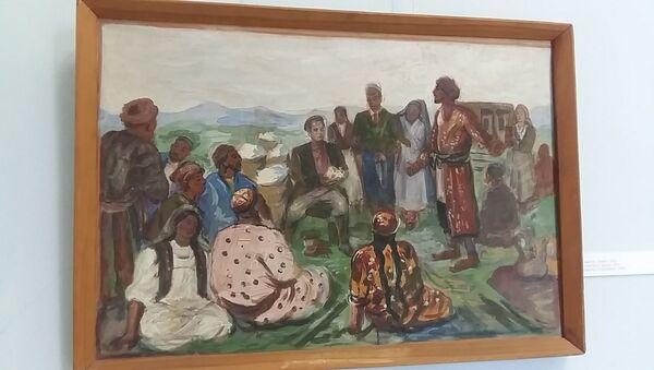 М. Курзин, Беседа, 1947 год, Бухарский музей изобразительных искусств - Sputnik Узбекистан