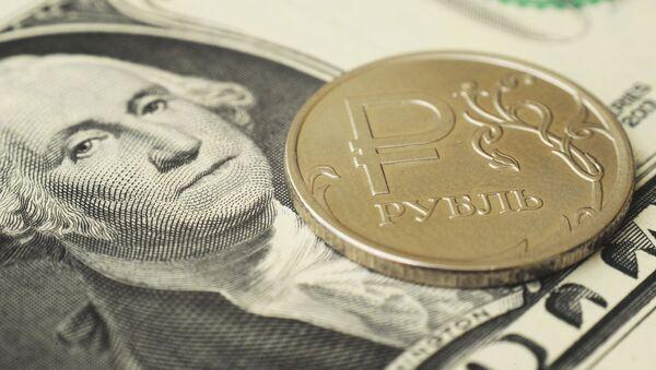 Moneta nominalom odin rubl na banknote odin dollar SSHA - Sputnik Oʻzbekiston