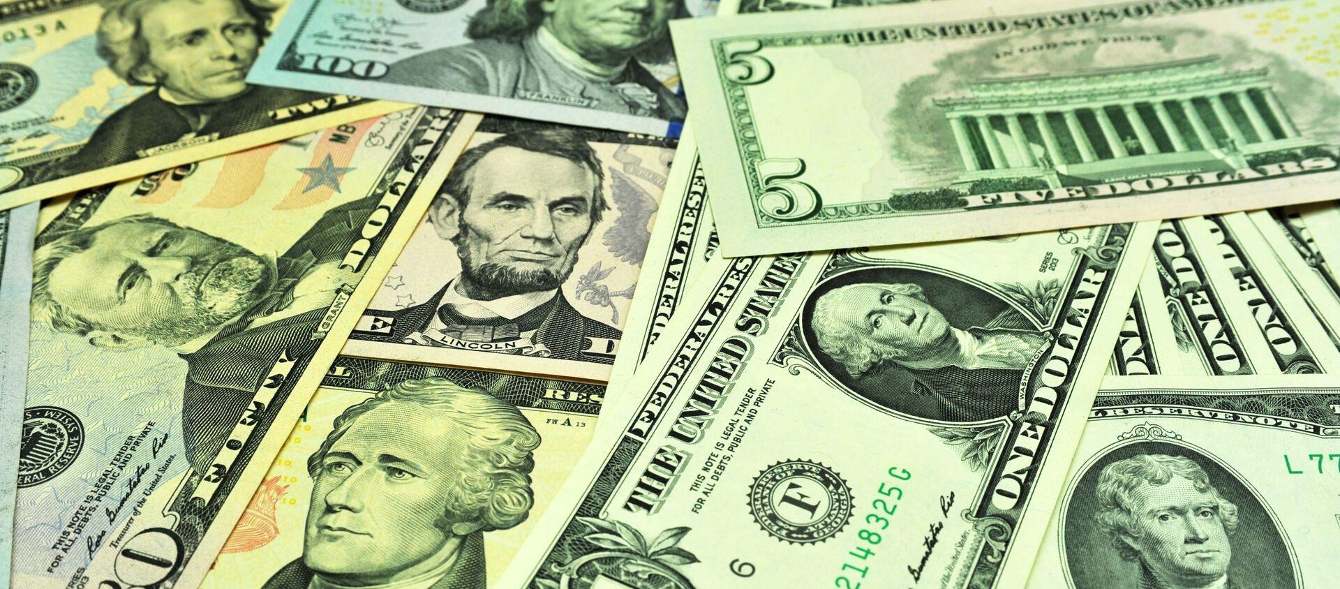 Банкноты долларов США различного достоинства - Sputnik Узбекистан, 1920, 12.03.2020