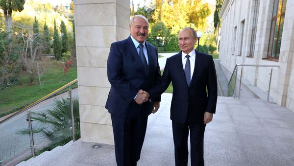 Prezident RF V. Putin provel peregovorы s prezidentom Belorussii A. Lukashenko v Sochi - Sputnik Oʻzbekiston