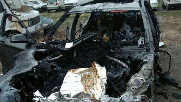 Sgorevshiy posle avarii v Tashkente avtomobil BMW - Sputnik Oʻzbekiston