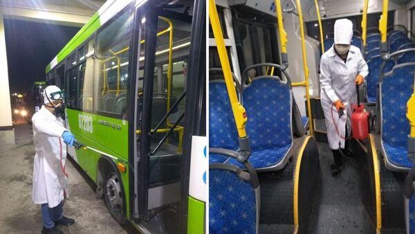 Автобусы Ташкента дезинфицируются для предотвращения инфекционных заболеваний - Sputnik Ўзбекистон