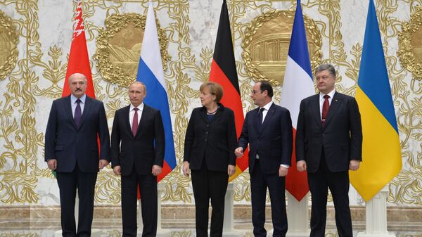 Peregovorы liderov Rossii, Germanii, Frantsii i Ukrainы v Minske - Sputnik Oʻzbekiston