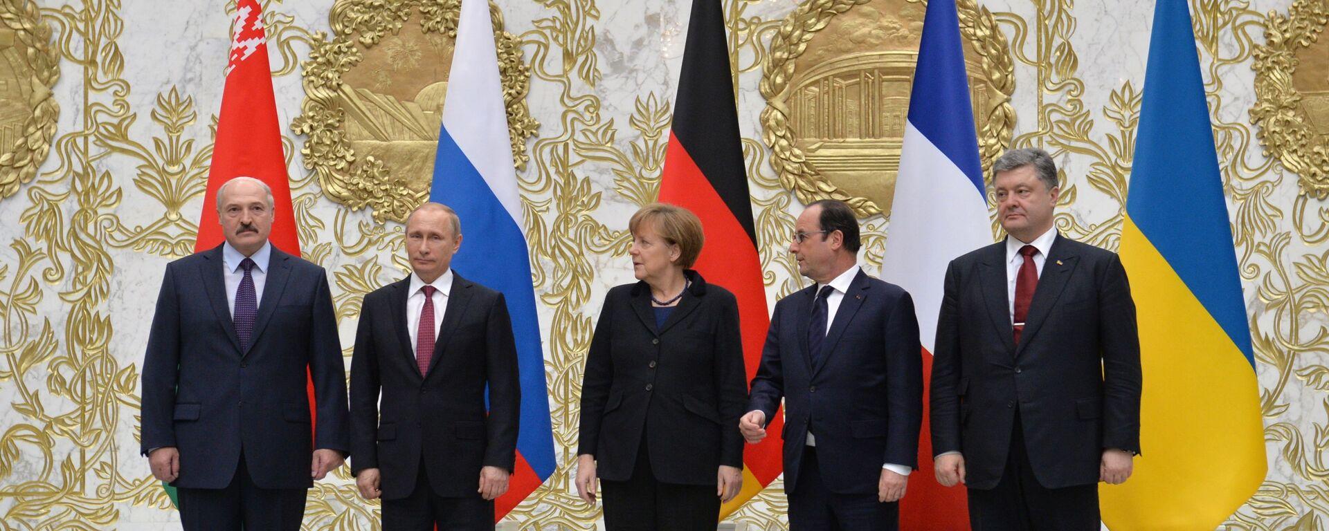 Peregovorы liderov Rossii, Germanii, Frantsii i Ukrainы v Minske - Sputnik Oʻzbekiston, 1920, 19.02.2020