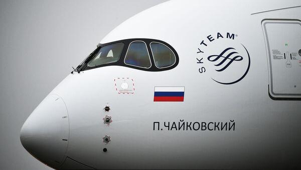 Dalnemagistralnыy shirokofyuzelyajnыy passajirskiy samolet Airbus A350-900 aviakompanii Aeroflot v mejdunarodnom aeroportu Sheremetyevo - Sputnik Oʻzbekiston
