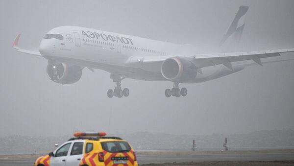 Dalnemagistralnыy shirokofyuzelyajnыy passajirskiy samolet Airbus A350-900 aviakompanii Aeroflot - Sputnik Oʻzbekiston
