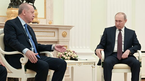 Президент Турции Тайип Эрдоган беседует с президентом России Владимиром Путиным, встреча в Кремле. - Sputnik Ўзбекистон