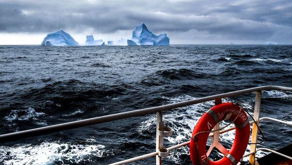 Вид на айсберги с борта исследовательского судна Балтийского флота Адмирал Владимирский - Sputnik Ўзбекистон