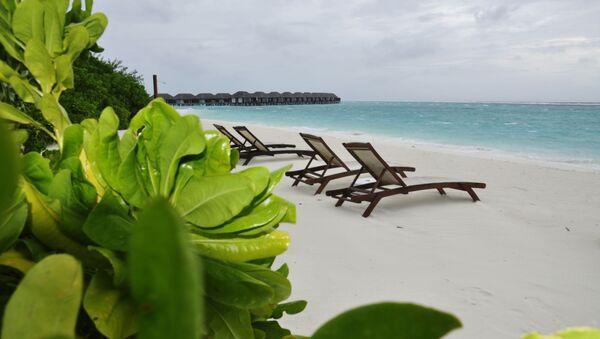 Шезлонги на пляже острова Велассару (Мальдивы). - Sputnik Узбекистан